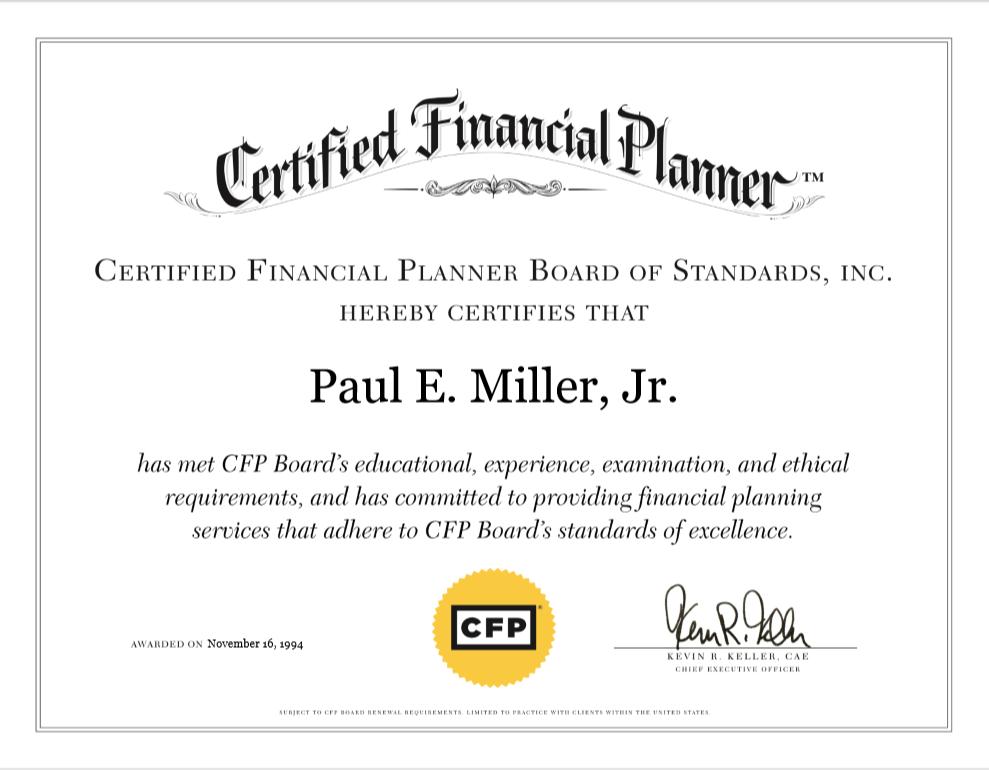 Paul E. Miller Jr. -CFS Certification-BDS Financial Network